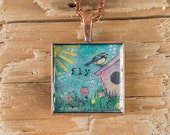 Pendant Necklace - Mixed Media Art Print - Fly Bird blue painting on copper square setting