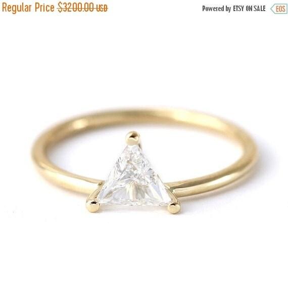 Trillion Diamond Ring Etsy