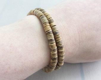 Sales Clearance, Tiger Coco Wood Sterling Silver Bracelet, Brown Wrap Bracelet, Unisex Wrap Bracelet