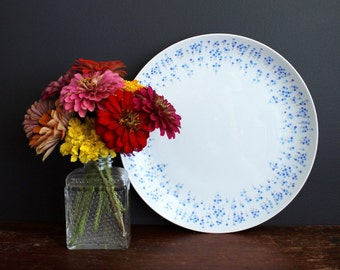 Vintage Sheffield Rhapsody 503 Round Serving Plate White with Blue Small Flowers Made in Japan