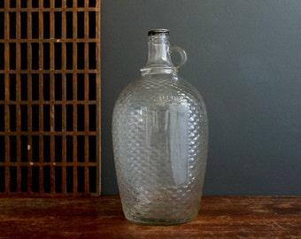 Vintage Antique Fruit Industries LTD One Gallon Glass Jug Bottle Wicker Ware Style
