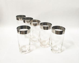Vintage Barware Silver Rimmed Tumbler Glasses 50s Atomics Mirror Rim Ombre Mid Century Mad Men Bar Ware Hostess Serving