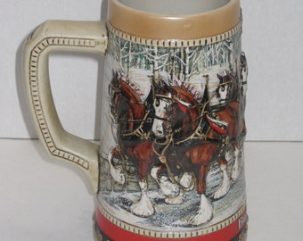 Vintage 1988 Budweiser Collectable Stein, Special Edition, Anheuser-Busch, Budweiser Clydedale's