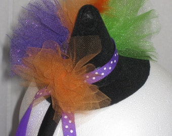 Witches Hat, Witch Hat Headband, Halloween Headpiece, Costume Accessory, Childs Halloween Headpiece