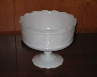 White Milk Glass Pedistal Bowl, Serving Dish