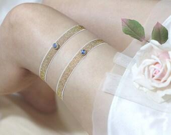 Glitter garter set, gold garter set, blue rhinestone garter set, wedding garter set, bridal garter set, simple garter set