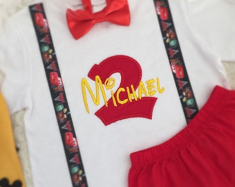 2pc Set-Personalised Lightning McQueen ribbon suspernders Birthday outfit-includes personalised Top and Bottom (shorts or Diaper cover)