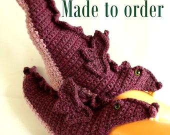 made to order crochet dragon slippers, dragon socks, mystical dragon, novelty slippers,  UK shop