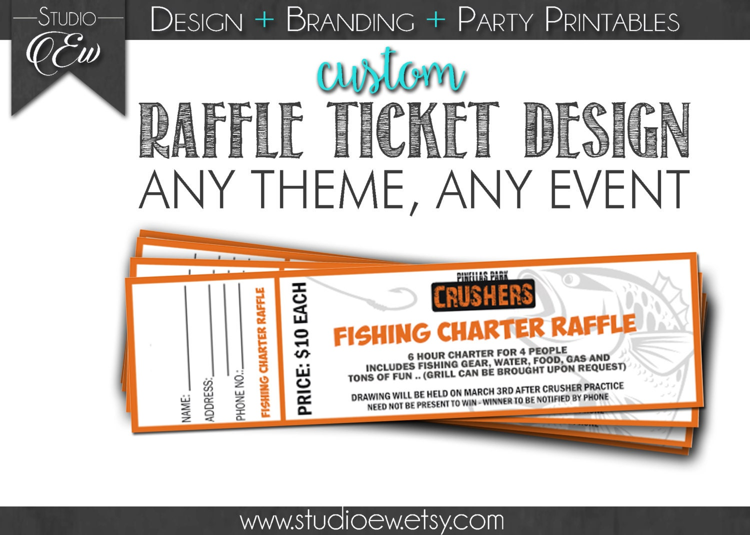 custom raffle ticket design any event any theme fundraiser fundraiser ticket design raffle 🔎zoom