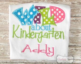 Wild About Kindergarten Handmade Embroidered Shirt in Pink, Green, Blue & Purple