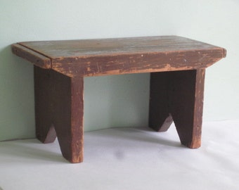 Antique Wood Foot Stool Bench