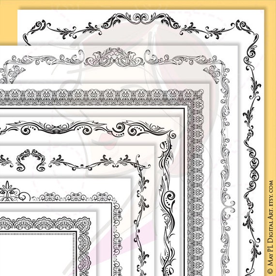page border certificate frames vintage borders great as award diplomas document portrait digital 8x11 antique heritage commercial use - Document Frames