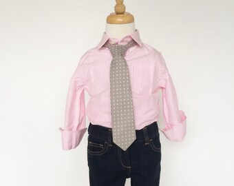 Grey Polka Dot Necktie for Boys