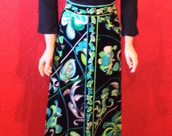60s Pucci Designer Velvet Print Lounge Skirt Emilio Pucci Medium