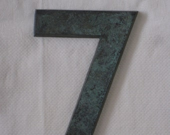 """Large Metal Number """"7"""", With Verdegris Finish - House Number or For Altered Art, Assemblage - Vintage Supplies, Finding"""