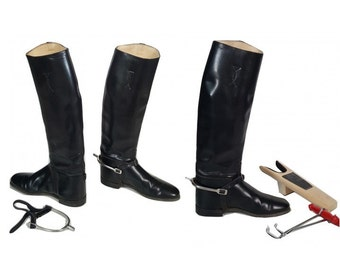 Vintage Equestrian Boots w/ Spurs  Black Leather English Tall Riding Boots and Accessories / Men's UK 9 US 9.5 Women's 10.5 /Made in England