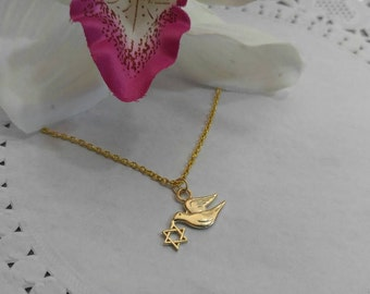 Pigeon with Magen David Necklace.  Dove with David Shield Pendant. Gold Necklace, Animal Dove Jewelry.Judaica Holyland pendant