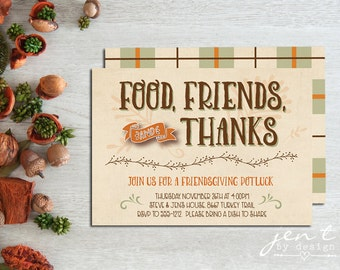 Friendsgiving Invitations - Beige with Plaid