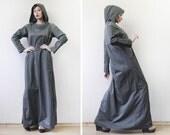 Vintage khaki green grey cotton long sleeve hooded floor length maxi dress M-L