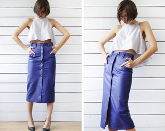 Danish vintage electric blue thick leather high waist fitted pencil ankle maxi midi skirt XS-S
