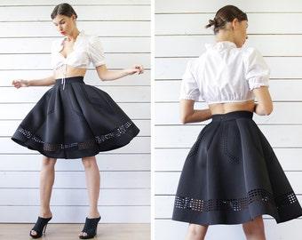 Vintage dirndl Brandl white cotton short sleeve drawstring tie front crop shirt blouse top M