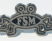 Flying Spaghetti Monster FSM Atheisim Atheist Enamel Lapel Pin Brass