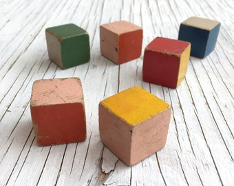 Colourful building blocks, 6 vintage wooden cubes. Make for fun displays or great as photographic props.