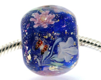 "Huge Blue Lampwork glass bead European Charm Focal bead ""Blooming"" Sterling silver core big hole 29 By Shirley"