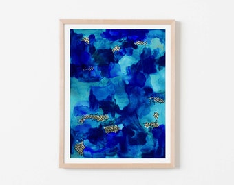 Cobalt Watercolor Abstract Nursery Art. Nursery Wall Art. Nursery Prints. Nursery Decor. Boy Wall Art. Navy Watercolor Art.