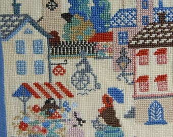 Vintage Swedish hand embroidered wall hanging - Square market - in cross stitch
