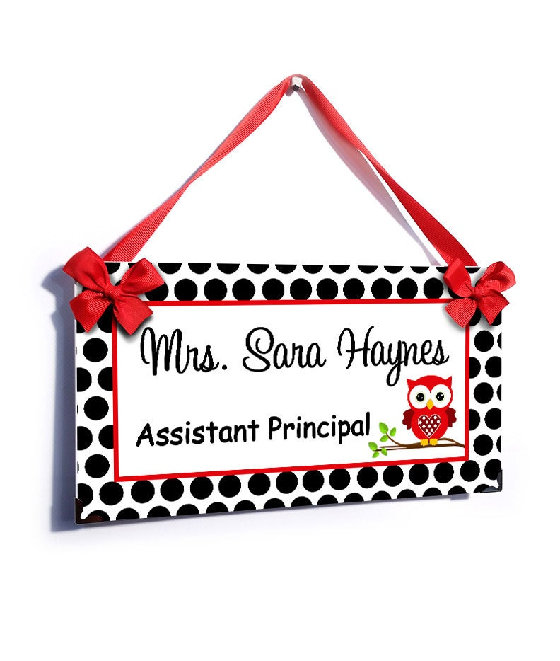 personalized Assistant Principal door sign white black and