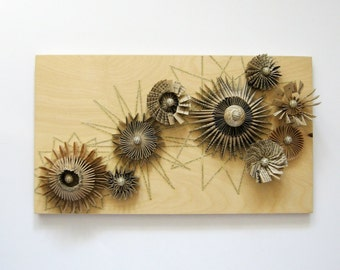 Paper Cogs Panel No3 - Paper Sculpture - Paper Collage Birch Plywood Neutral Wall Decor - Recycled Book Art Industrial Decor Wall Sculpture