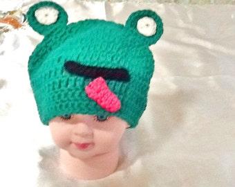 Babies frog hat , crochet frog hat ,baby animal hat ,handmade baby hat-kids boho hat