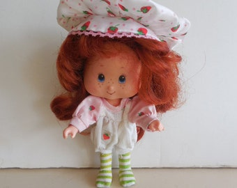 1980s Curled Hand Long Red Hair Original Strawberry Shortcake Doll in Romper and Berry Hat  With Movable Arms Vintage Collectible Child Toy