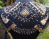 Vintage stylish Art Deco gold shaped sequin beaded flapper cape collar shrug geometric design black tulle Downton Abbey 1920s
