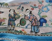 Antique Chinese Mandarin silk embroidery figural border fragments (2) 10 children hand worked for applique