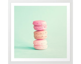 Macaroons, macaron,  french macaroons, mint wall art, canvas art, nursery wall art, girl nursery decor girl macaroon large wall art