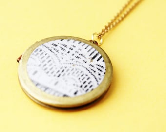 Modern Locket Necklace.              Black and White Abstract Lace Photo Locket.    Minimal Modern Jewelry with a Charitable Donation