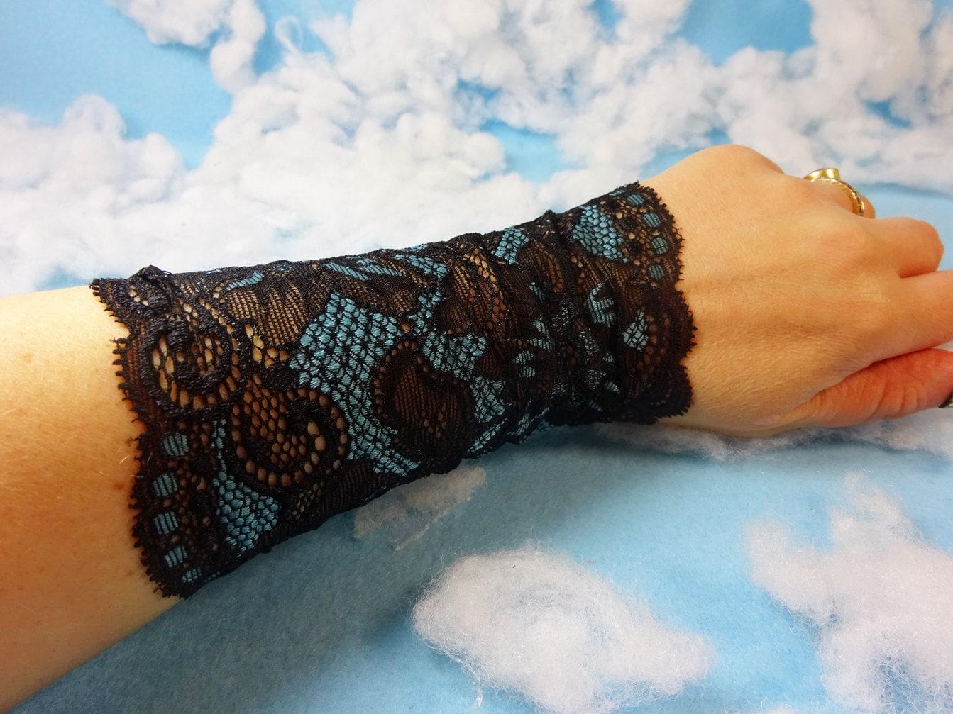 Black blue lace tattoo cover lace wrist cuff lace victorian for Lace glove tattoo