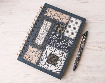 Dot Grid Notebook Black Eco friendly / dot grid journal / dotted notebook / recycled notebook / A5 spiral notebook / recycled journal