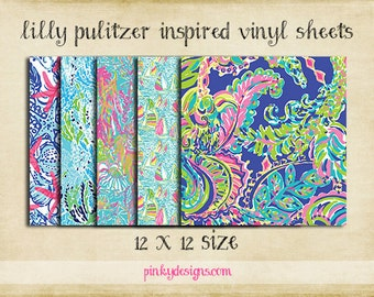 12x12 #2 Lilly Pulitzer Inspired Vinyl Sheets - High Quality Indoor/Outdoor Adhesive Vinyl - Large Print or Tiled - Over 100 Patterns