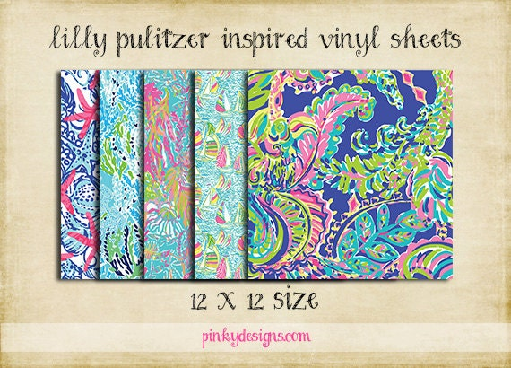 12x12 2 Lilly Pulitzer Inspired Vinyl Sheets High Quality