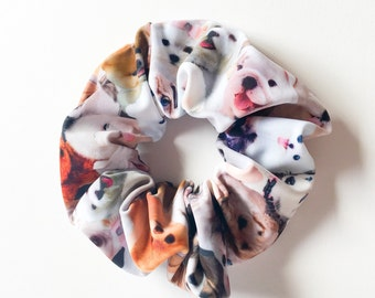 Kawaii scrunchies dog print-hair ties-hair accessory-puppy ponytail holder-dog chou chou-animal print scrunchie-love Factory ny