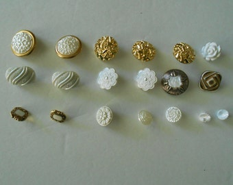 vintage button lot, white and gold