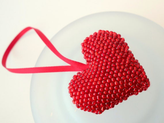 Bead embroidery kit beaded heart pattern and tutorial