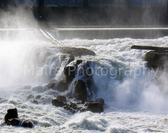 Travel Photography, Rugged Willamette River Historic Waterfall Mist Rocks Oregon, Fine Art Photography signed matted 5x7 original photograph