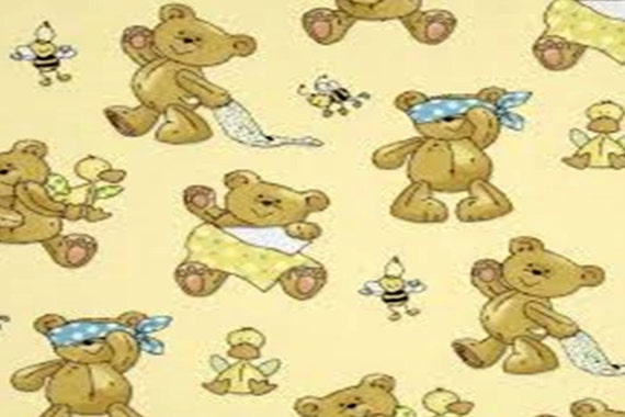 Flannel fabric by the yard baby bear 100 cotton flannel for Children s flannel fabric by the yard