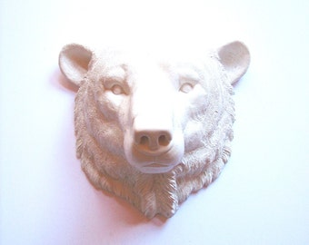 WHITE POLAR BEAR Large Faux Taxidermy Animal Head wall mount wall hanging / white bear / arctic animal / kids wall decor / office decor /