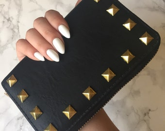 Studded Wallet Clutch - Faux Black Leather  - Small Gold Pyramid Studs