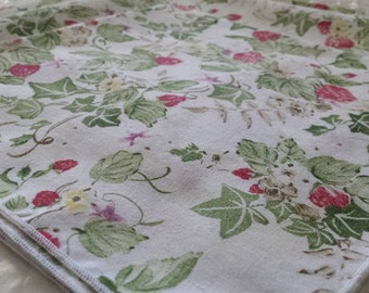 Sweet Strawberries and Ivy Cotton Dinner Napkins Set of Three Cottage Chic Floral Fruit Summer